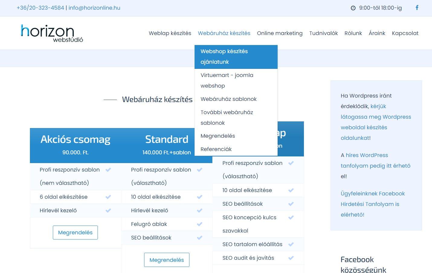 Profi joomla webshop készítés