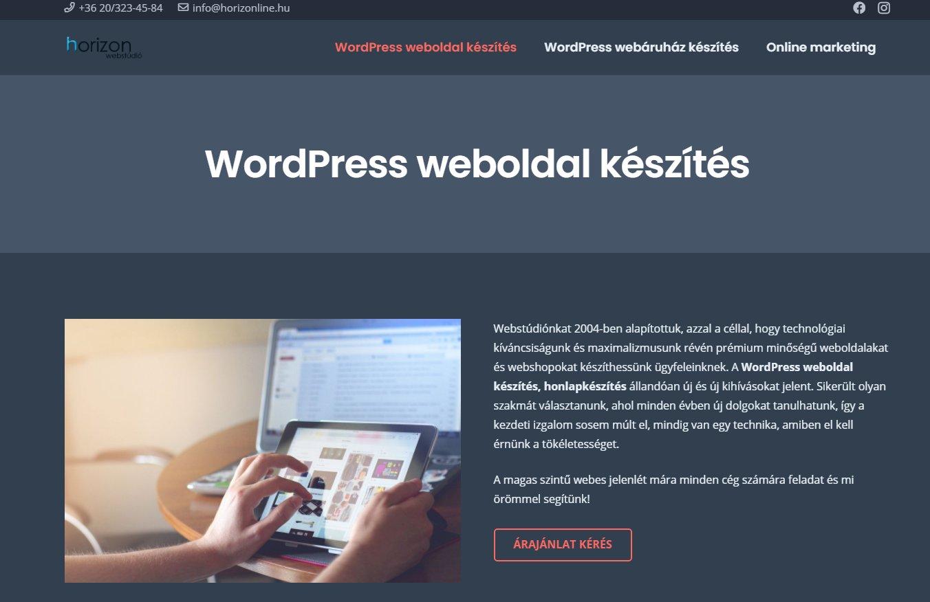 Prémium WordPress honlapkészítés